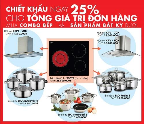 Big Sale đến 25% combo thiết bị nhà bếp