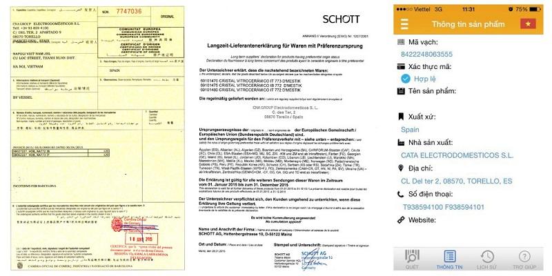 Bếp từ  D'mestik NA722 IB có đầy đủ giấy tờ chứng minh nguồn gốc xuất xứ
