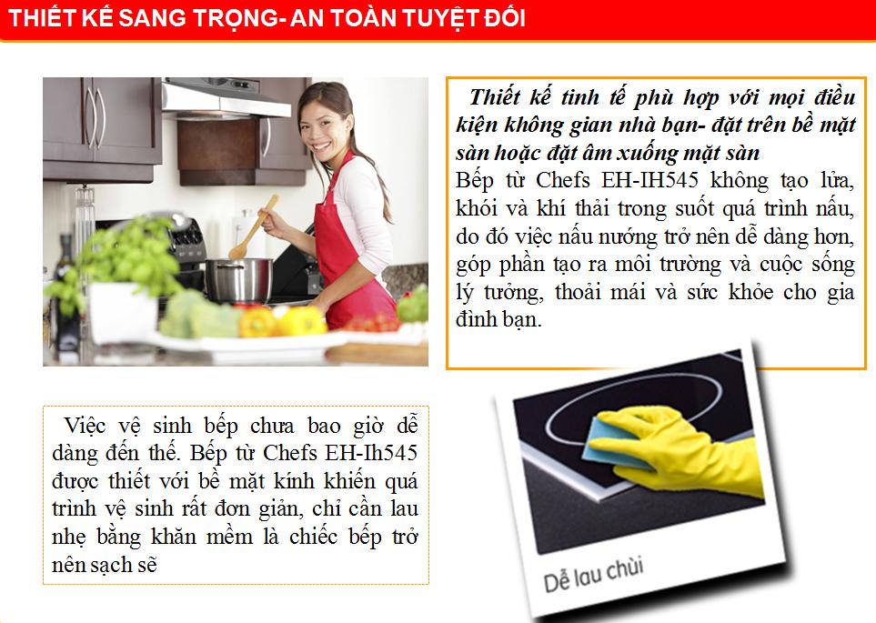 thiết kế bếp từ an toàn