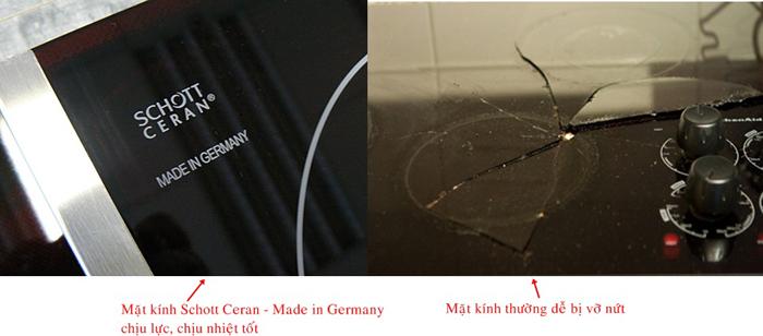Sự khác nhau giữa mặt kính Schott Ceran và mặt kính dởm khi gặp sự cố