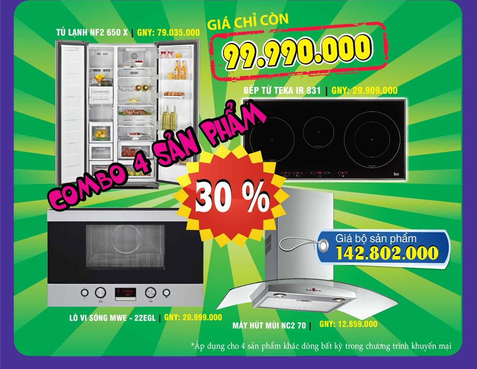 chiết khấu 30% cho bộ sản phẩm thiết bị nhà bếp teka