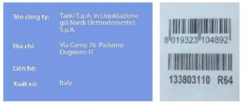 Thông tin Nardi PVF9HT28 sau khi quét Barcode