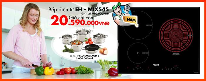 Qúy khách được tặng bộ nồi từ Elo Smaragd 5 khi mua bếp điện từ Chefs EH – MIX545