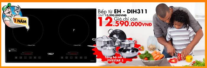 Qúy khách sẽ nhận được bộ nồi từ Five Stars 5 khi mua bếp từ Chefs EH – DIH311