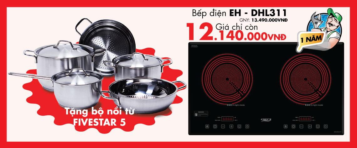 Qúy khách được tặng bộ nồi từ Five Stars 5 khi mua bếp điện EH - DHL311