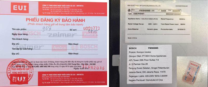 Tem bảo hành bếp từ Bosch PMI 968MS
