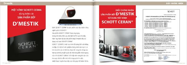 Chứng nhận sử dụng mặt kính Schott của bếp Dmestik
