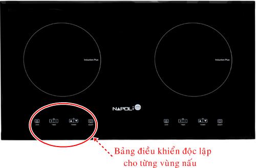 Bếp được trang bị hệ thống điều khiển riêng cho mỗi vùng nấu