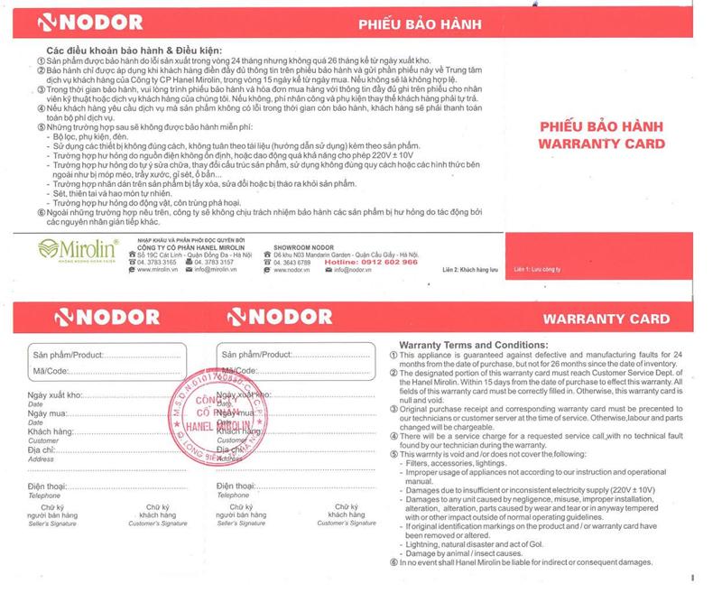 Phiếu bảo hành chính hãng Nodor
