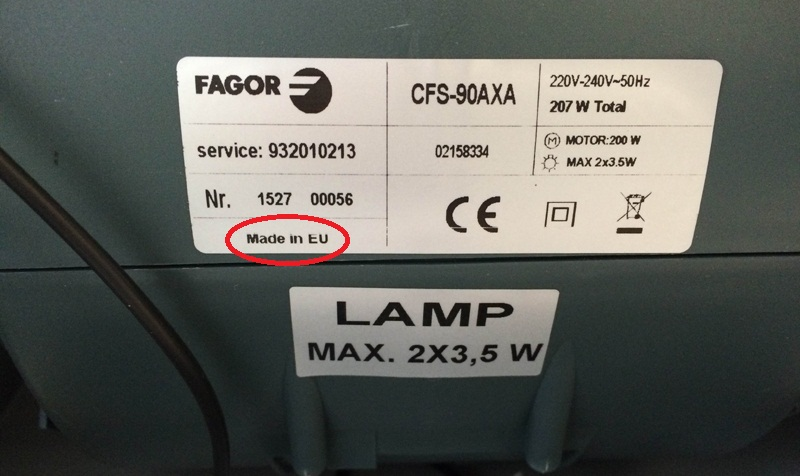 tem dán ghi thông tin sản phẩm hút mùi Fagor CFS-90AXA