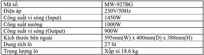 thông số cụ thể của lò vi sóng MW- 927BG