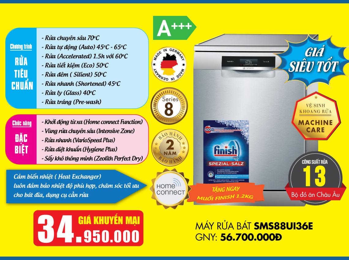Báo giá máy rửa bát Bosch SMS88UI36E Serie 8.
