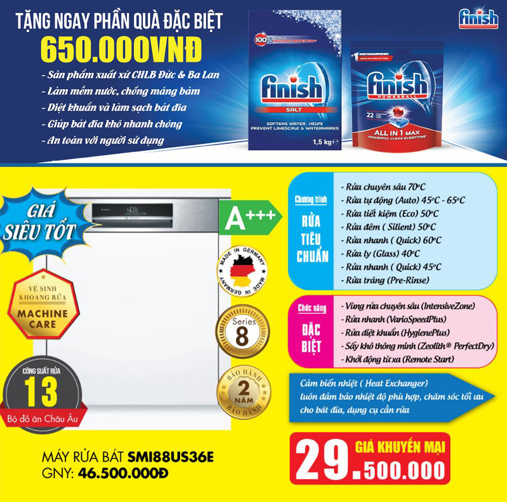 Khuyến Mại máy rửa bát Bosch SMI88US36E.