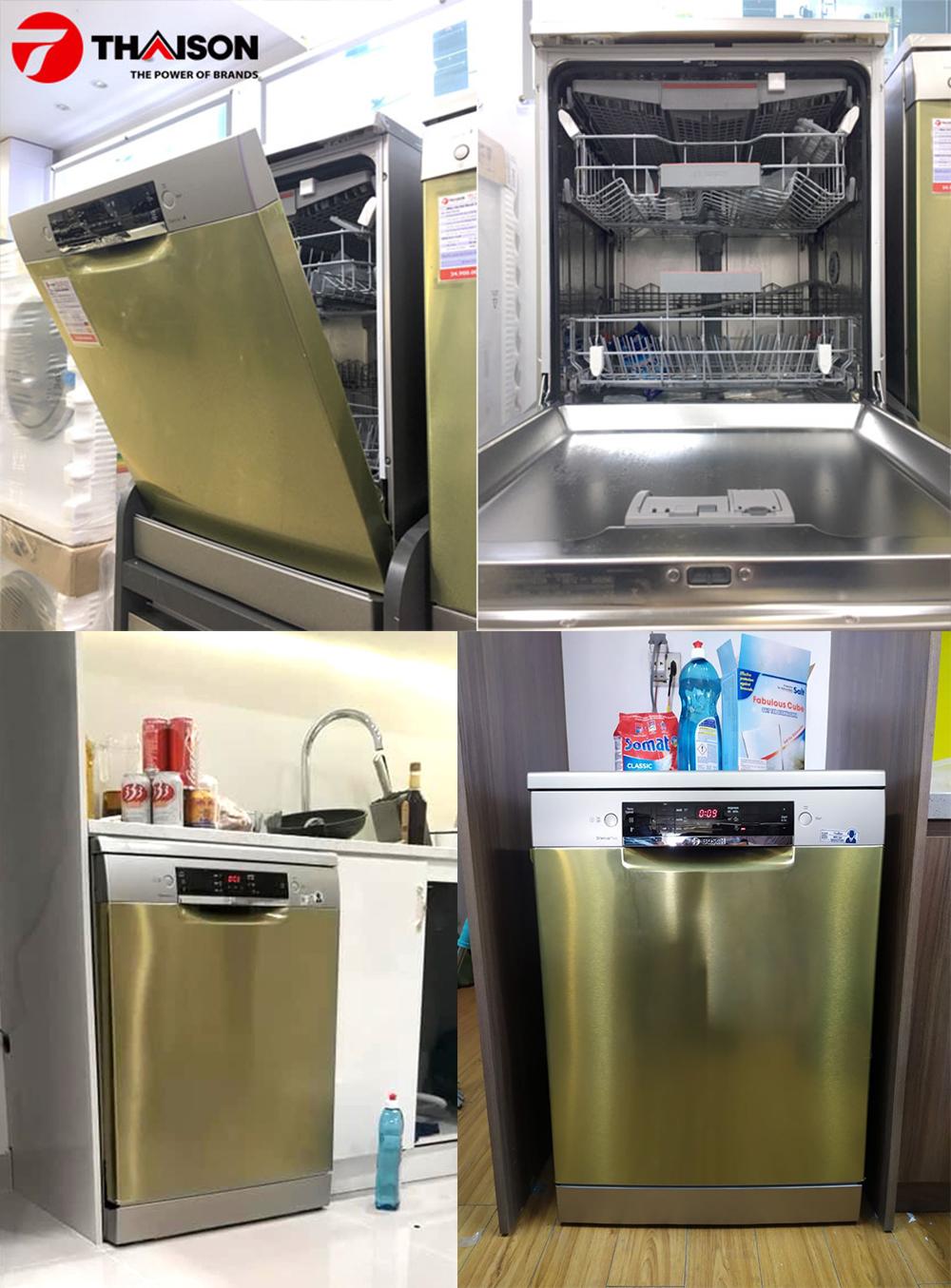 Máy rửa bát độc lập linh hoạt trong không gian bếp.