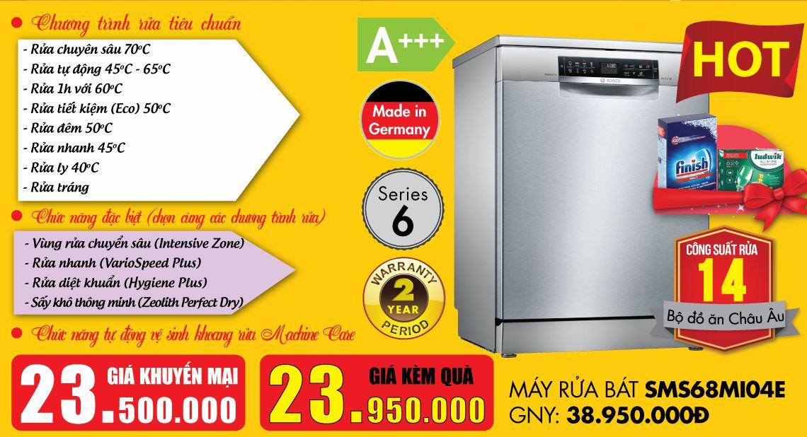 Sở hữu máy rửa bát Bosch SMS68MI04E với giá tốt.