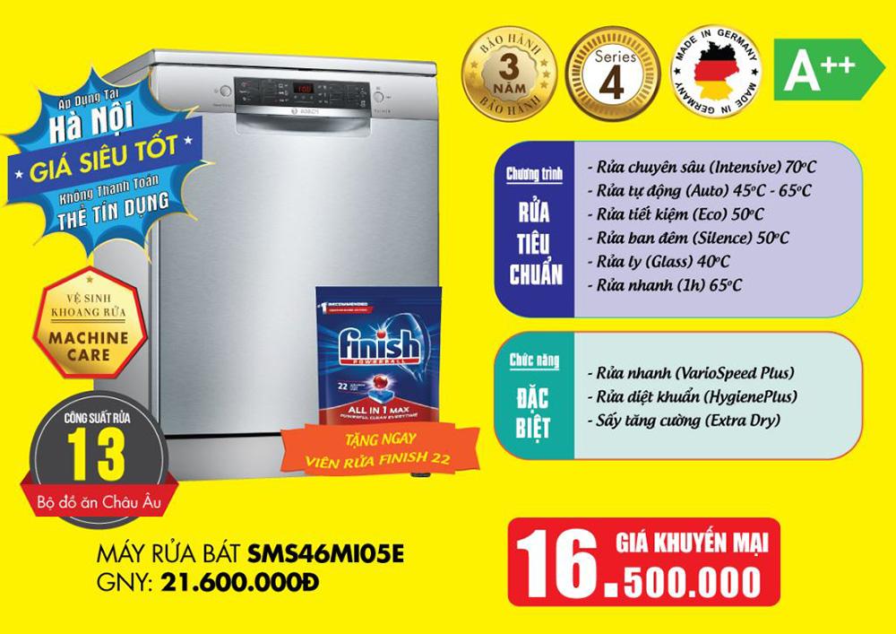 Khuyến mại đồng giá cho máy rửa bát Bosch SMS46MI05E.