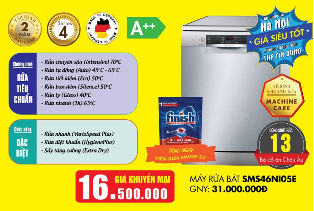 Khuyến mại áp dụng cho máy rửa bát Bosch SMS46NI05E.
