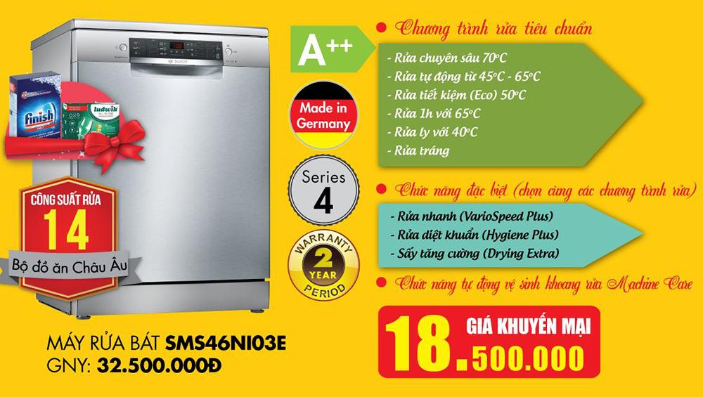 Khuyến mại máy rửa bát Bosch SMS46NI03E