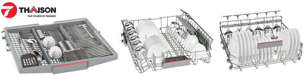 Hệ thống giỏ đựng VarioFlex của máy rửa bát Bosch.