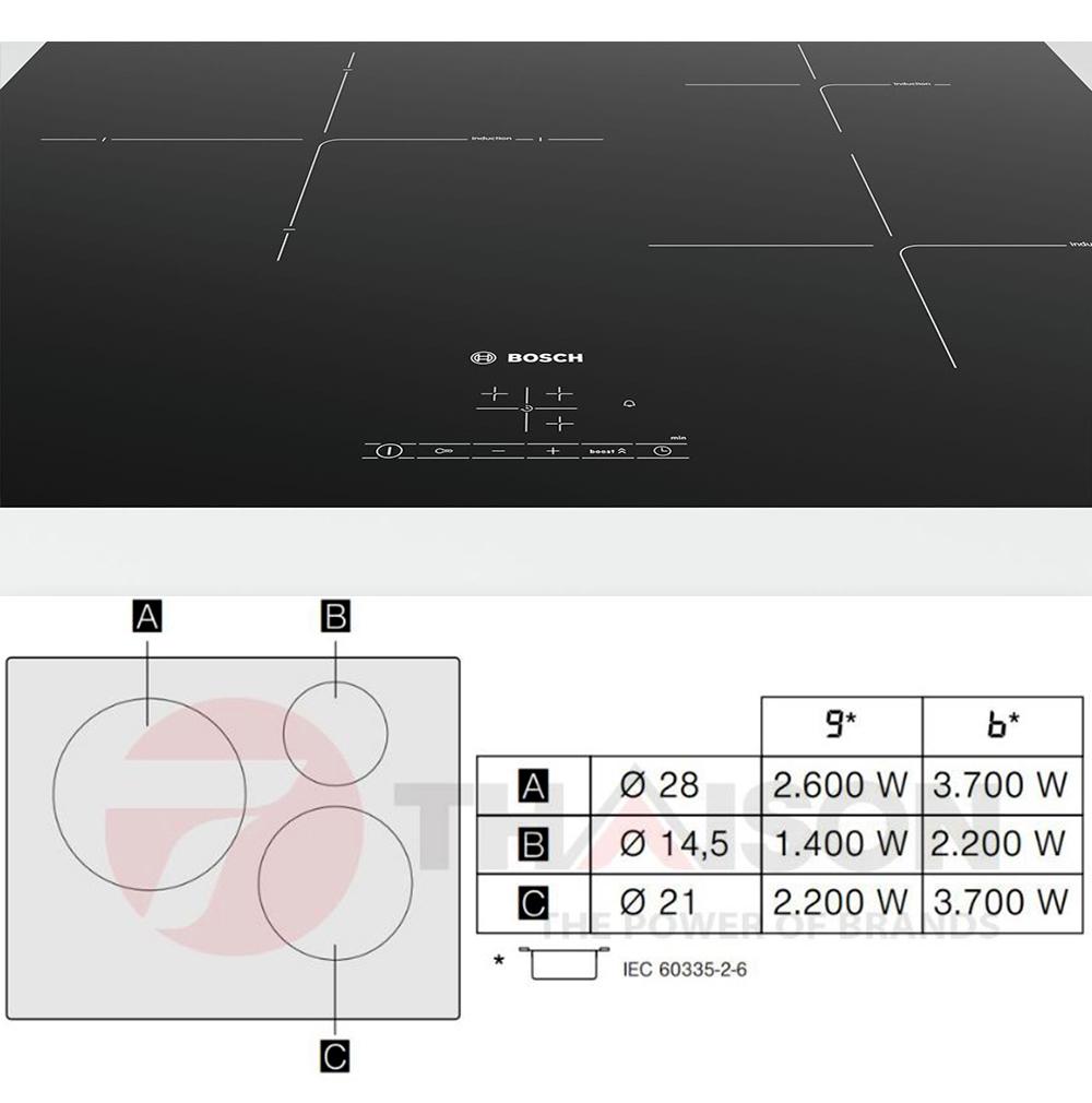 Công suất bếp từ Bosch PUJ611BB1E.