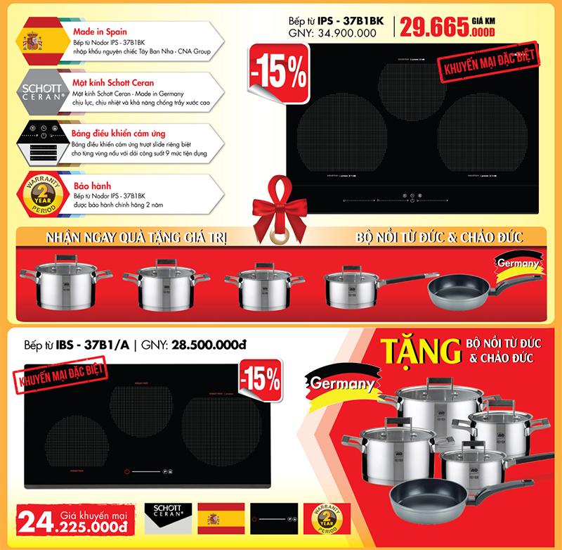 Khuyến mại 15% và quà tặng cho 2 model bếp từ hot của Nodor