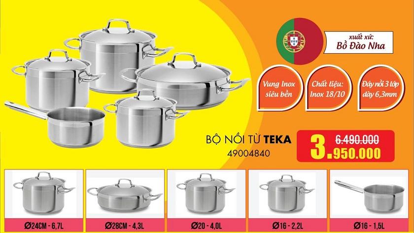 Ưu đãi Bộ nồi từ Teka 49004840 tại Siêu thị Bếp Thái Sơn.