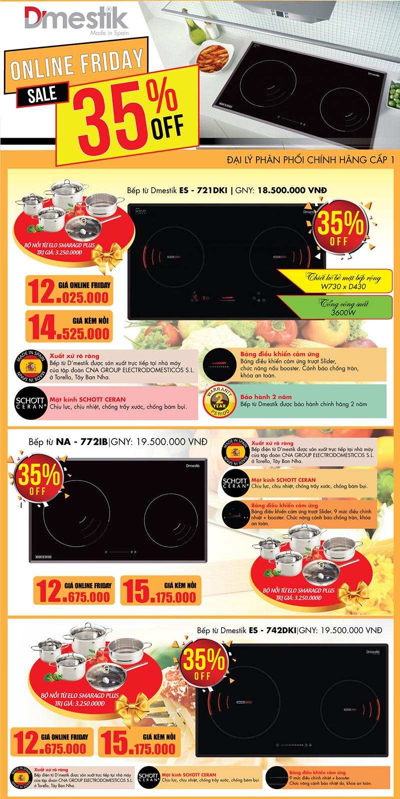 Khuyến mại lớn bếp từ D'mestik nhân ngày hội mua sắm trực tuyến online Friday