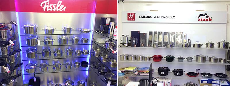 Tại Bếp Thái Sơn bày bán hàng trăm nghìn sản phẩm Fissler, Zwilling và Staub