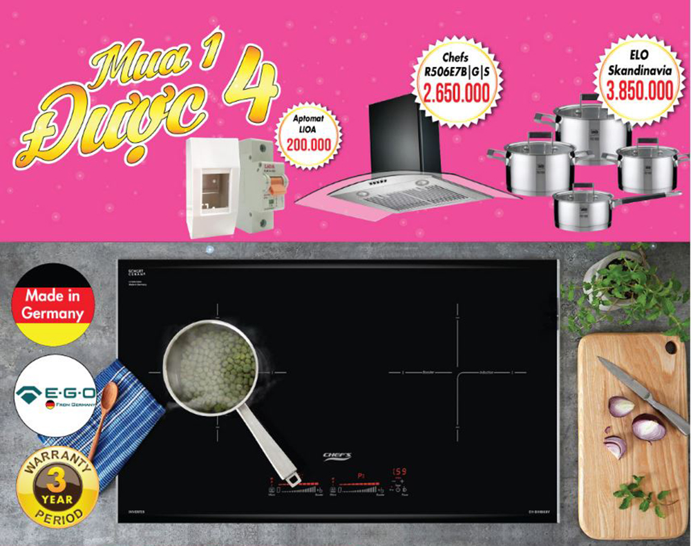 Bếp từ Chefs EH-DIH888V inventer tiết kiệm điện.