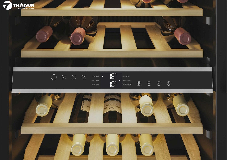 Dễ dàng tùy chỉnh hai vùng nhiệt độ độc lập tủ rượu.