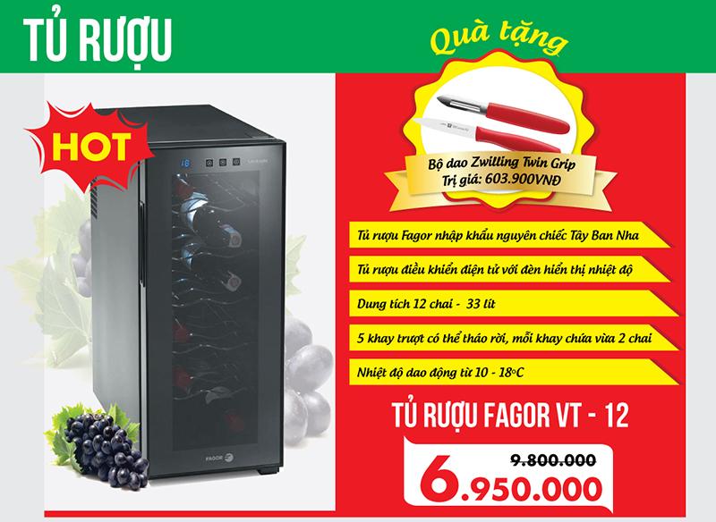 Giảm 3 triệu khi mua tủ rượu Fagor, kèm quà tặng hấp dẫn