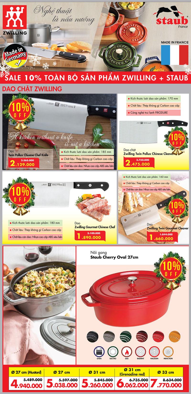 Khuyến mại 10% khi mua đồ dùng nhà bếp Zwilling và Staub tại Bếp Thái Sơn