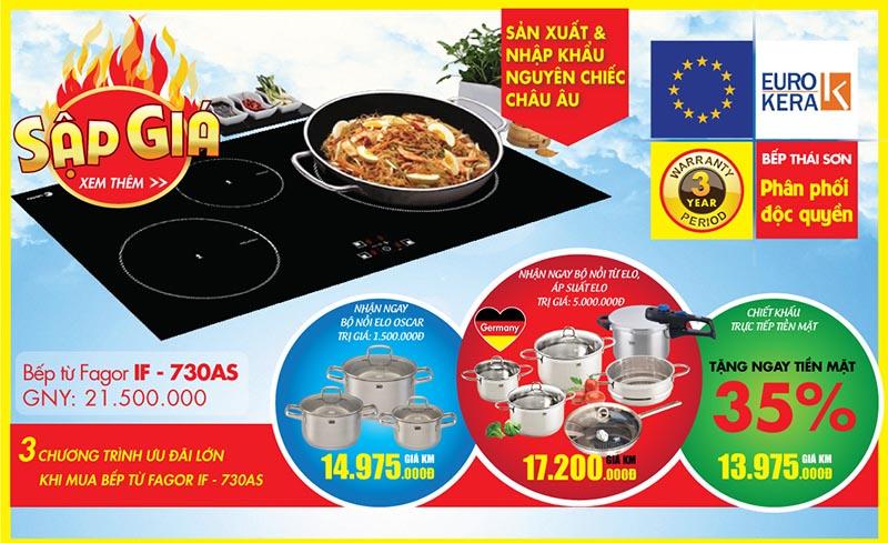 Khuyến mại lớn 35% bếp từ độc quyền Fagor IF - 730AS