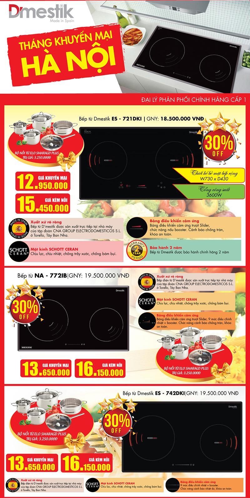 Khuyến mại 30% bếp từ D'mestik tại Bếp Thái Sơn