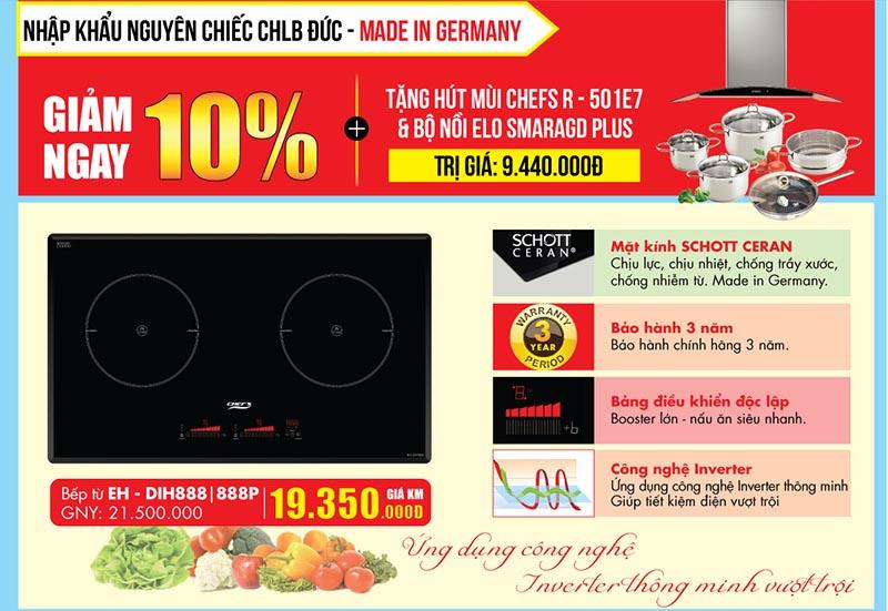 Khuyến mại 10% + hút mùi và bộ nồi từ khi mua bếp từ Chef's EH - DIH888