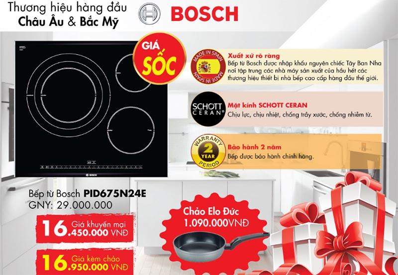 Khuyến mại 44% bếp từ Bosch PID675N24E