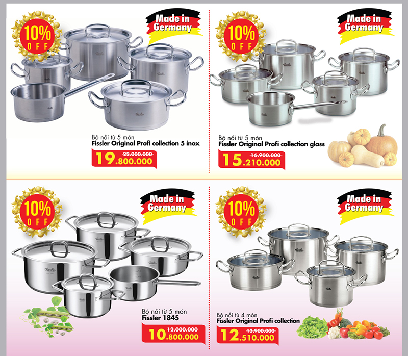 Đồ gia dụng Fissler – made in Germany khuyến mại 10%