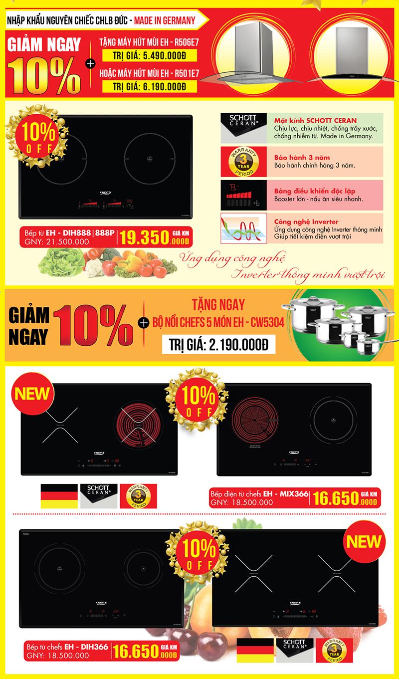 Cơ hội mua bếp từ Chef's cho những gia đình thích công nghệ Inverter
