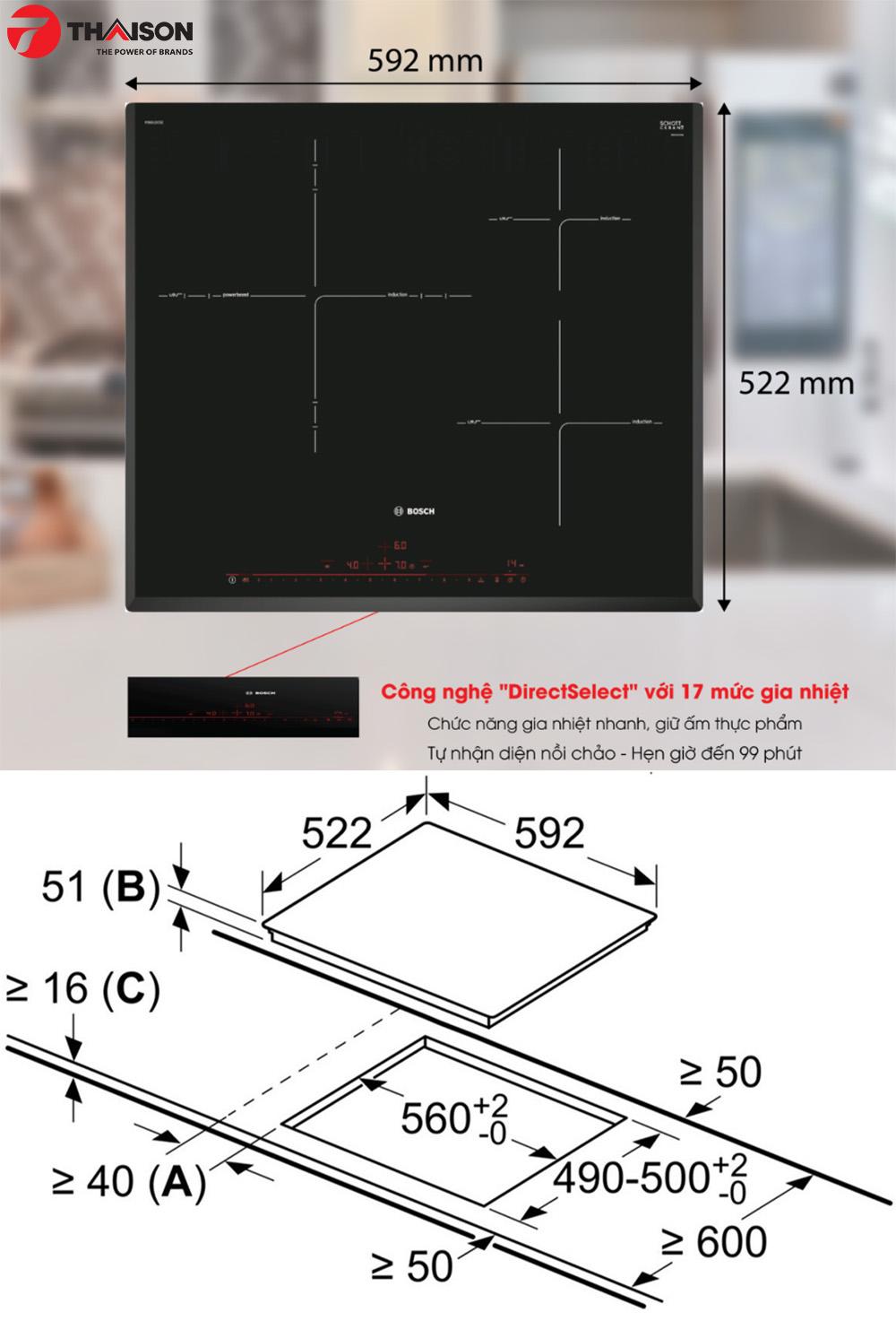 Kích thước kỹ thuật bếp từ Bosch PID651DC5E.