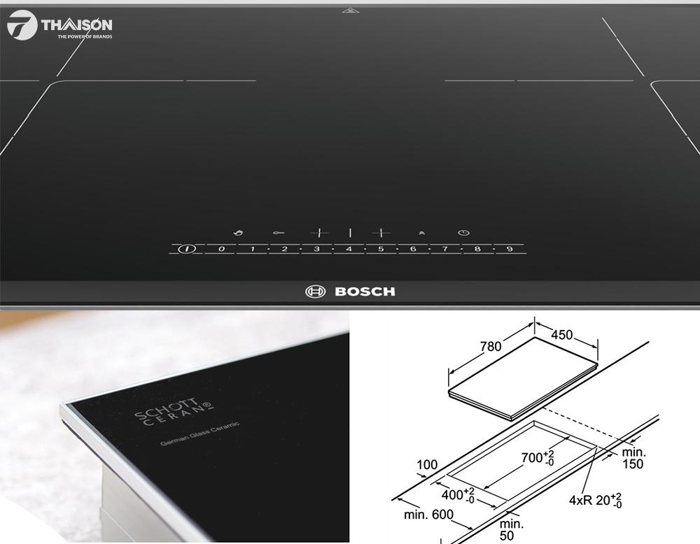 Bảng điều khiển bếp từ bosch PPI82560MS và kích thước lắp đặt.
