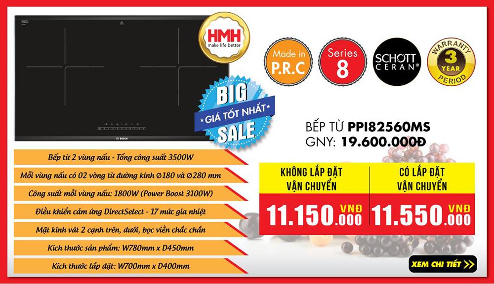 Báo giá bếp từ đôi Bosch PPI82560MS tại Bếp Thái Sơn.