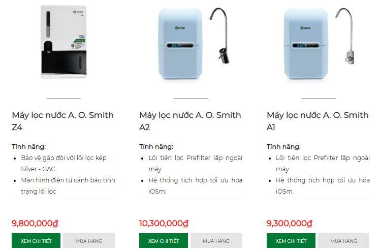 Giá máy lọc nước AOSmith