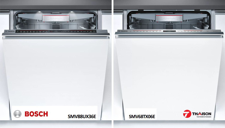 So sánh máy rửa bát âm toàn phần Bosch SMV88UX36E và SMV68TX06E.