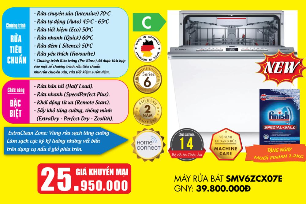 Báo giá Máy rửa bát Bosch SMV6ZCX07E âm tủ Serie 6.