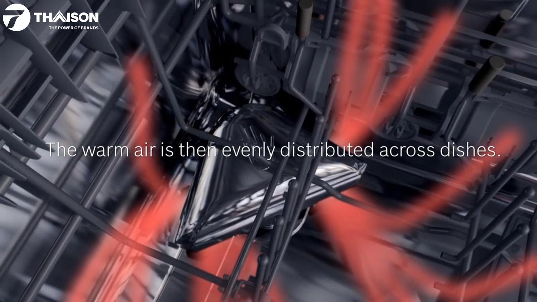 Tính năng sấy khô thông minh Zeolith trên máy rửa bát Bosch.