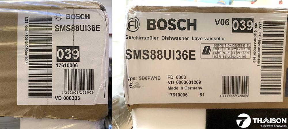 Tem xuất xứ chuẩn Đức của Bosch SMS88UI36E.