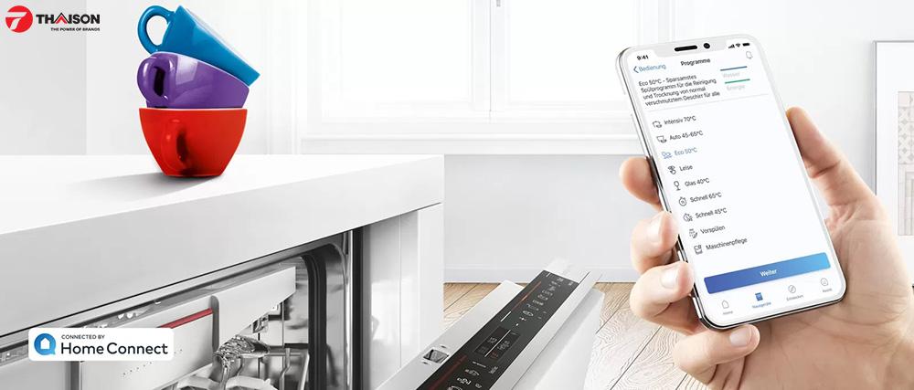 Ứng dụng HomeConnect điều khiển máy rửa bát Bosch.