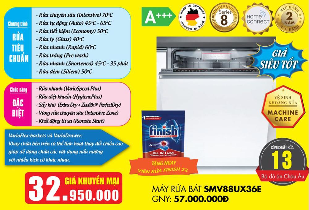 Báo giá máy rửa bát Bosch SMV88UX36E Serie 8.