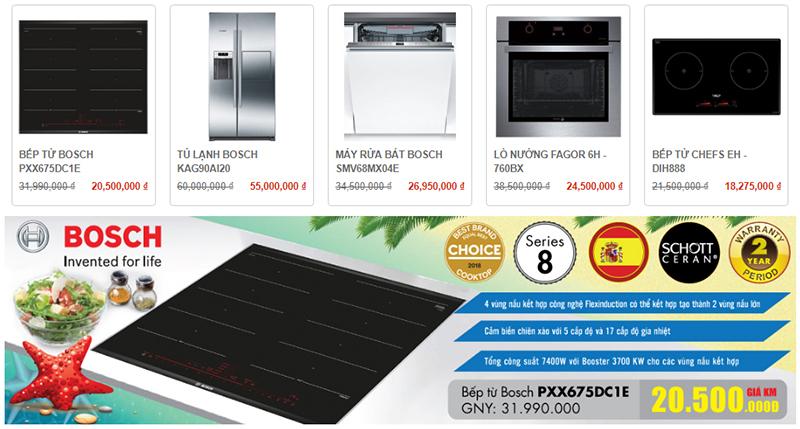 Nhiều lựa chọn thiết bị bếp trên trang web của Bếp Thái Sơn