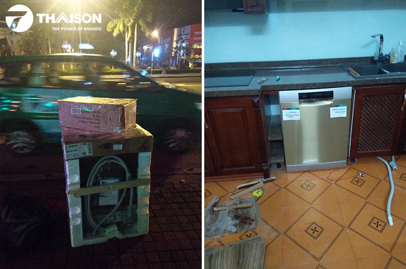 Bếp Thái Sơn vận chuyển và lắp đặt máy rửa bát cho khách Quảng Bình trong ngày